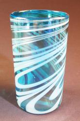 Mexican Glass tumbler 18oz Turquoise and white swirl