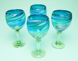 Wine glass hand blown 14oz Turquoise and White swirl Iridescent  4