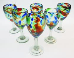 Wine Glasses hand blown 12oz Confetti Swirl 6 made in Mexico