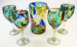 hand blown wine glasses and matching pitcher from Mexico