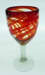 Wine glass hand blown 12oz Red Swirl, Made in Mexico
