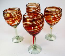 Wine glasses hand blown 12oz Red Swirl, Four Made in Mexico