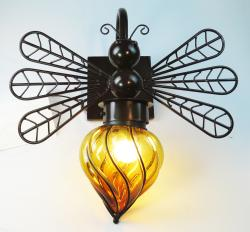 Dragonfly light with Amber glass