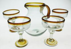 Mexican Glass Set 4 Amber Rim 12oz Margaritas with 80oz Pitcher