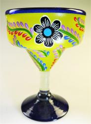 Mexican Margarita Glass 15oz Hand Painted POP Designs Yellow