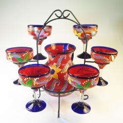 Mexican Painted POP Flowers Pitcher & Six glasses, Red with display rack