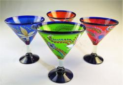 Martini Margarita Glass 15oz Hand Painted POP Designs Set of Four