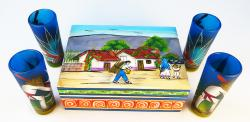 Mexican Tequila Shot Glasses Hand Painted Poncho Agave Cactus and Wood Display Box Set of 4