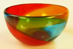 Mexican Glass Bowl 5.5 inches in diameter tricolor