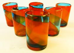 Mexican Glass Tumblers Six 16oz Tricolor