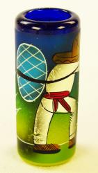 Mexican shot glass Painted Pancho Pina Blue rim