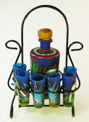 Mexican shot glass set Pancho tequila bottle, six shots with rack
