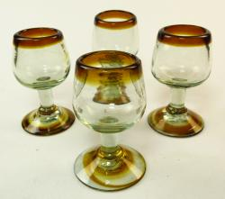 Mexican tequila stemmed shot glasses, amber rim four
