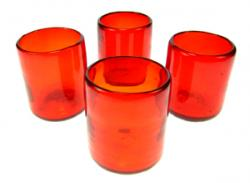 Red Tumbler, Mexican Drinking glasses, Set of Four (4)