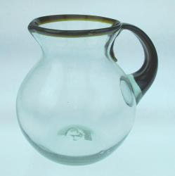Mexican Glass Pitcher 80oz Amber rim and handle