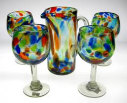 Wine Glasses hand blown, four 20oz with matching pitcher