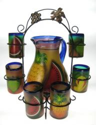 Mexican Pineapple & Mixed Fruit Glasses with Matching Pitcher & Rack, Set of Six