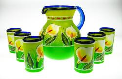 Mexican hand painted glasses and matching calla lily