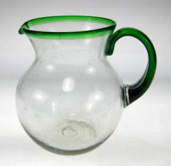 Mexican glass pitcher green rim handle hand blown