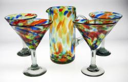 martini margarita glasses matching pitcher confetti swirl made in Mexico