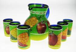 Pitcher and Drinking Glasses, Mexican Painted Fruit Set, Set of 6