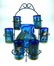 Mexican Glass six tumblers and pitcher  Hand Painted Saguaro, Agave, Poncho with RACK