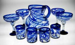 Mexican Margarita Glasses and Tumblers with Matching Pitcher Blue Swirl design Set of 4