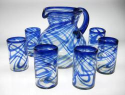 hand blown Mexican glass pitcher blue swirl Mexico