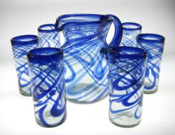 Mexican glass 20oz blue swirl with pitcher set of 6