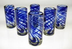 Set of Six Blue Swirl Shot Glasses