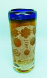 Mexican shot glass   SKULL on Blue Rim