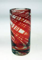 Shot Glass in Red Swirl Design