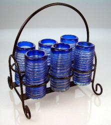 Shot Glass Set with Rack, Blue Spiral Rim, Set of 6