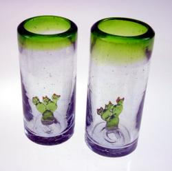 Shot glasses Mexican cactus prickly pear hand blown