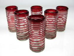 Shot Glasses, Red Spiral Rim, Set of Six