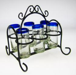 Mexican Shot Glass Set with Rack, Blue Rim, Set of 6