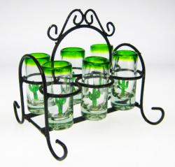 Mexican Shot Glass Set with Rack, Cactus, Set of 6