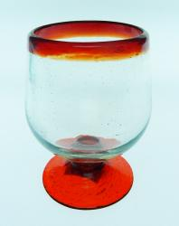 Liquor glass, red rim, 4oz snifter