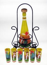 Mexican Shot Glasses Tequila Bottle Rack, Agave Digger in Yellow, Set of 6