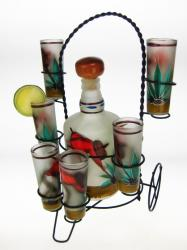 Shot Glasses Tequila Bottle Set with Metal Rack, Frosted Red Shirt Agave Cutter Design, Set of 6