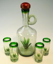 Agave Tequila Bottle Set Hand blown in Mexico 4 shots