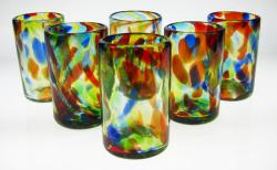 Mexican Drinking Glasses, Set of six (6) ,16 oz. Multi Color, Confetti Swirl