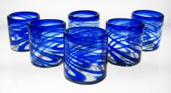 tumbler glass blue swirl made in Mexico