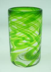Drinking Glass, Green Swirl, 16oz