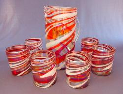 Red & White Swirl Pitcher with six tumblers