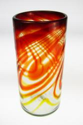 Mexican Drinking Glass, Red Swirl, 20oz