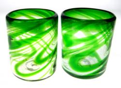 Mexican glasses, Green Swirl Tumbler, Set of 2