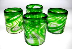 Mexican glasses, Green Swirl Tumblers, set of 4