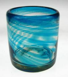Mexican glass turquoise aqua marine drinking glass