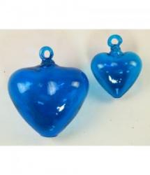 heart blue glass 6 inch 4 inch 2 hearts